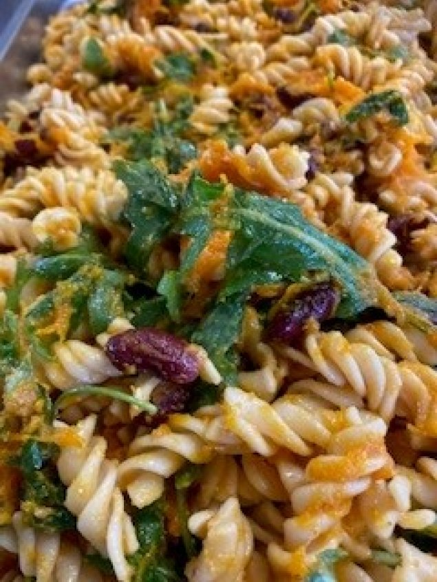 Spiral Pasta Salad  w/ Roasted Pumpkin, Zucchini, Red Kidney Beans, Rocket and  Basil Pesto