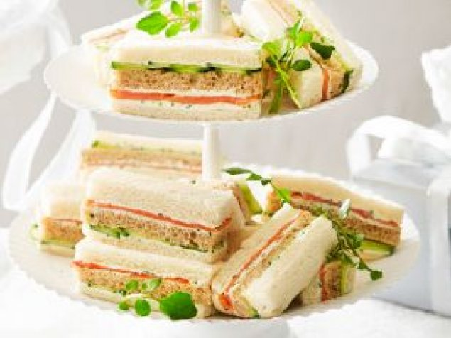 Chefs Ribbon Sandwiches (selection shaved ham and egg salad, chicken pistachio and alfalfa, smoked salmon, horseradish and cucumber)