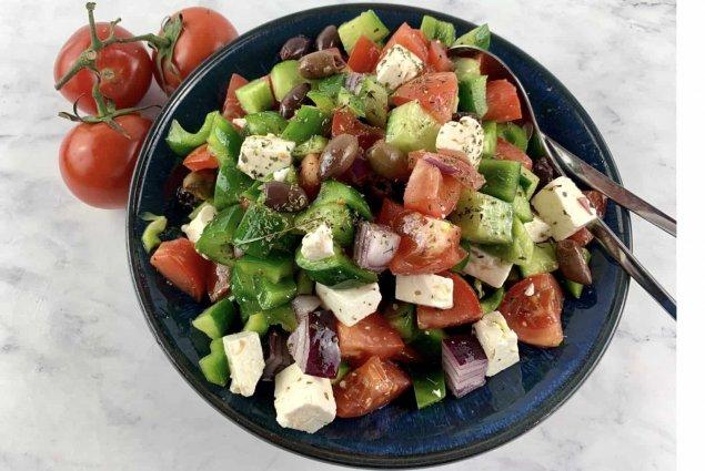 Traditional Greek Salad w/ Goats Milk Feta & Kalamata Olives