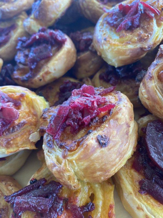 Golden Crispy Vegetable Pinwheels with Anise Myrtle Beetroot Relish