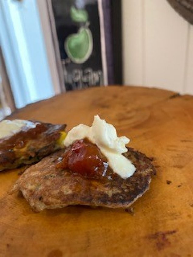 Sweet Corn Zucchini Fritters w/ Anise Tomato Relish and Sour Cream
