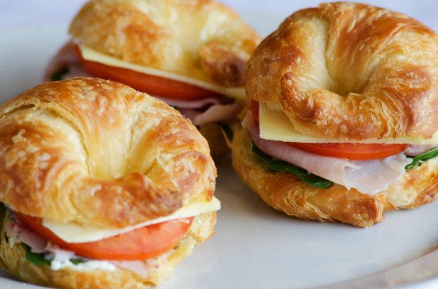 Croissants w/ Ham, Baby spinach, Vine Ripened Tomato and Egmont Cheese