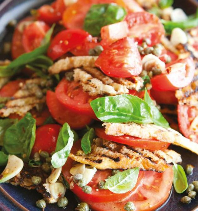 Panzanella - Italian Bread Salad w/ Vine Ripened Tomatoes, Basil, Parmesan and Olives