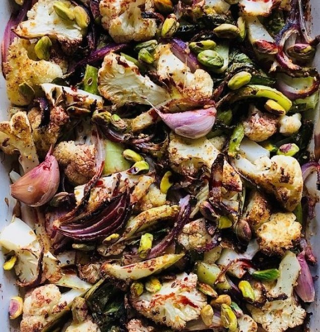 Roasted Cauliflower Salad w/ Pistachio Nut Crumble and Balsamic Reduction