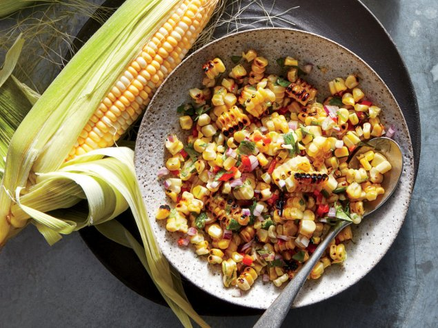 Texan Style Spicy Char-Grilled Corn Salad w/ Bacon and Red Bell Pepper