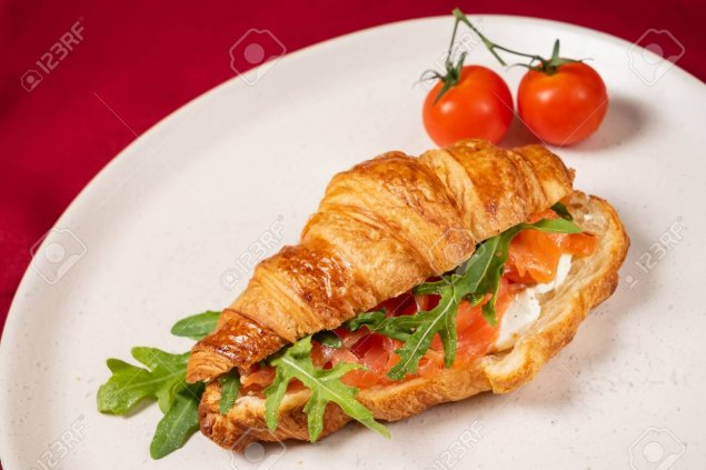 Croissants with smoked salmon and dill Neufchatel