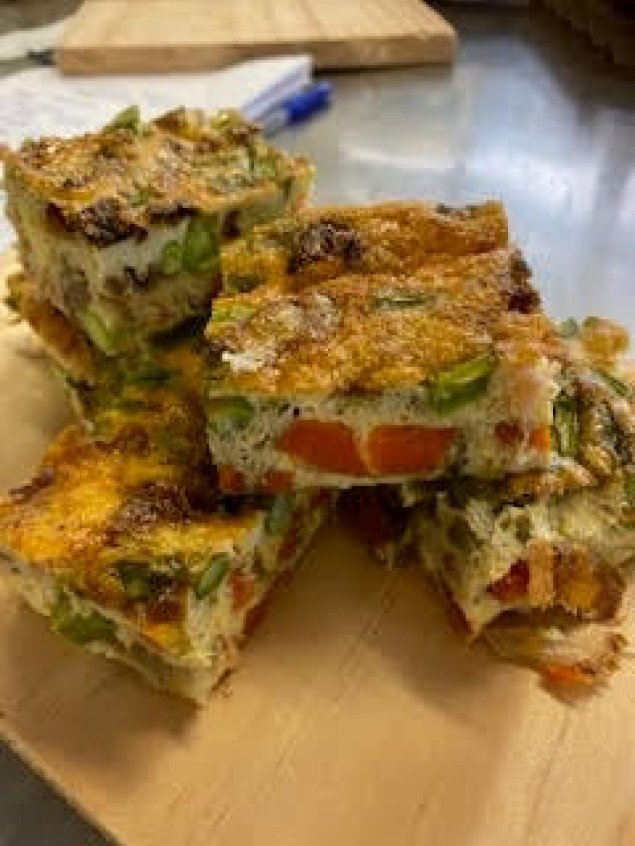 Smoked Salmon and Finger Lime, Asparagus Frittata