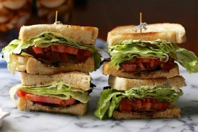 Mini BLT (bacon, lettuce, tomato, mayo) on seeded ciabatta
